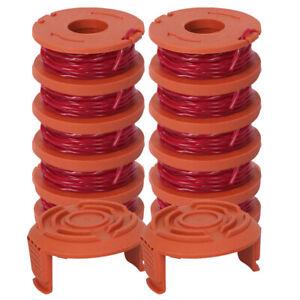 12Pack Ersatz Spule Rasentrimmer Line für Worx 10Pack Spule und 2 Kappe