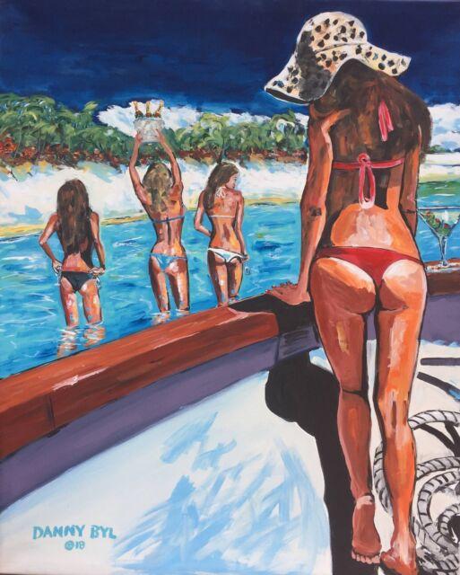 BIKINI BEACH BABES Fantasy Original Art PAINTING Contemporary Modern DAN BYL 5ft