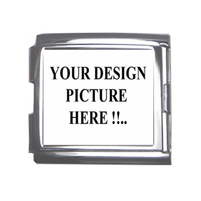 New Personalized Custom Your Logo Design Photo Text Mega Link Italian Charm 18mm