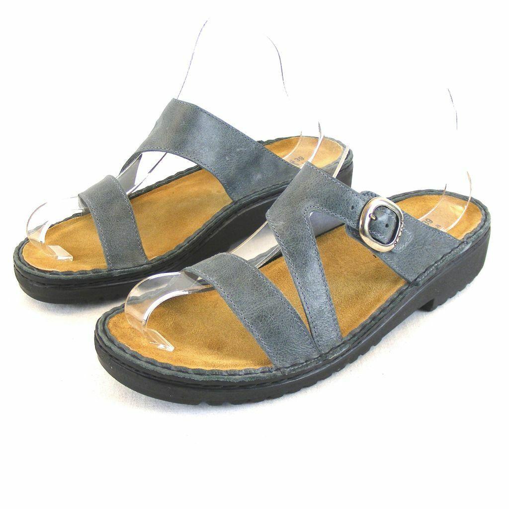 Naot Damen Schuhe Pantoletten Geneva Echt-Leder blaugrau 13996 Wechselfußbett