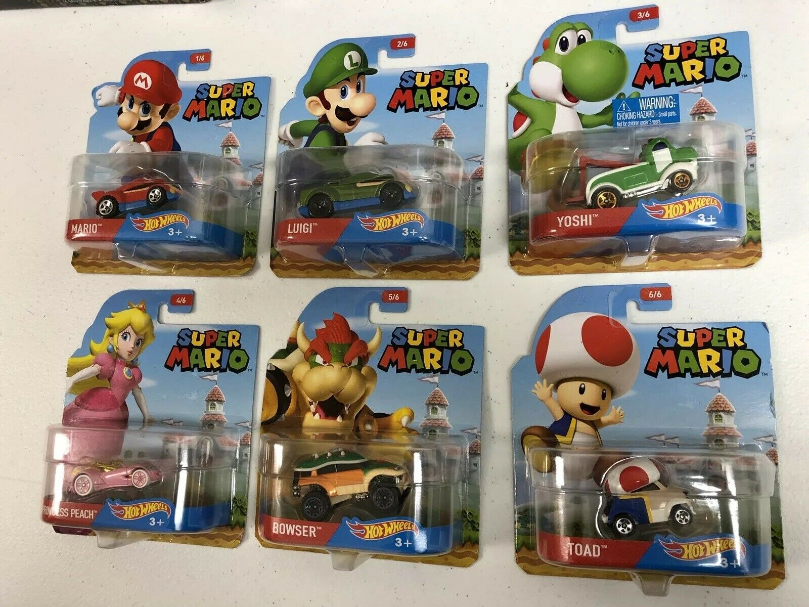 Hot Wheels 2016 Super Mario Brothers EntertainSiet Complete Set of 6 HTF