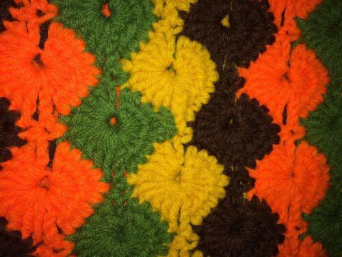 Details about  /Vintage Crocheted Handmade Blanket 70s Bright Orange Yellow Green Brown