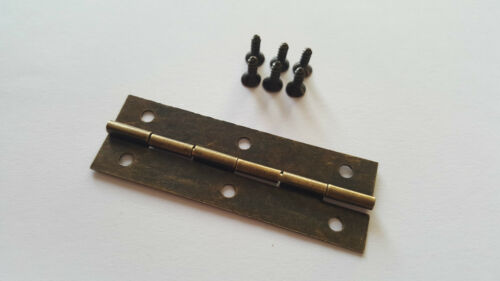 Hinges Large Bronze DIY Boxes Craft Models Dolls House Screws B-044 Tool Fix