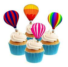 Novelty Hot Air Balloon Mix 12 Edible Stand Up wafer paper cake toppers party