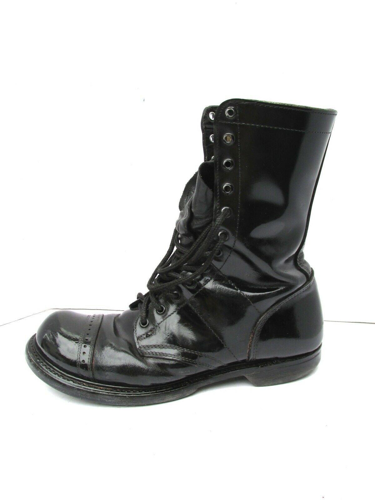 VTG HH Double H 12 eye Lace Shiny Cap Toe U.S. MILITARY Combat Biker Boots 10 D