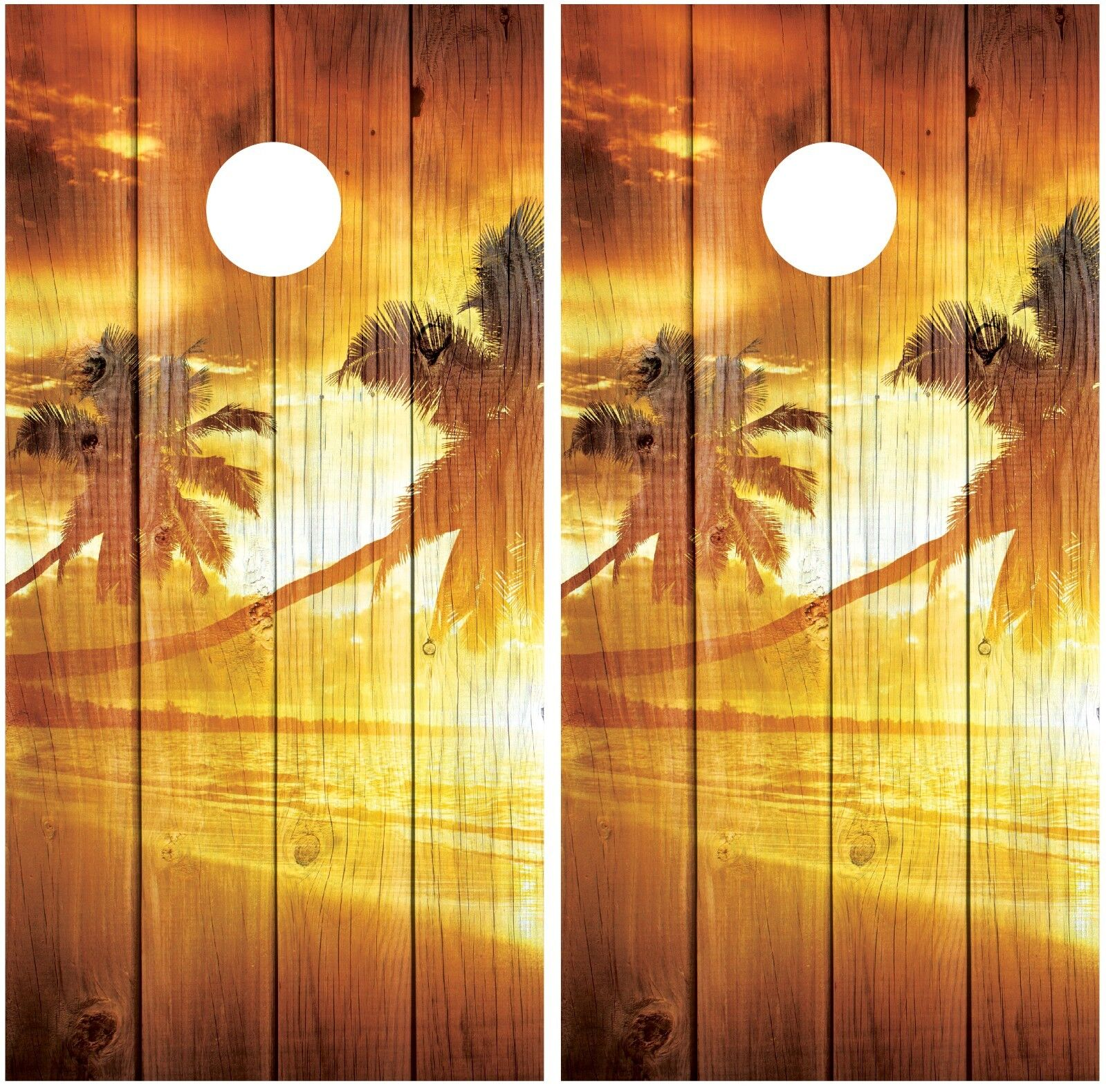 Beach Sunset Palm Trees Vintage Wood Cornhole Board Decal Wrap Wraps