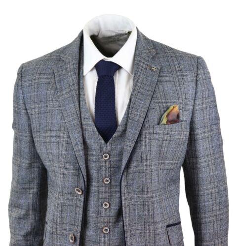 Mens Blue Navy Vintage Herringbone Check Classic Wedding Party Ofiice Suit