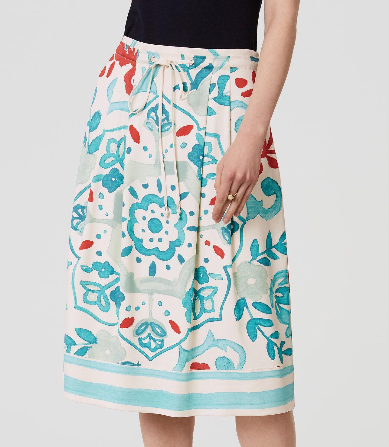 Ann Taylor LOFT Watercolor Floral Drawstring Skirt Size 6, 14, 10 Petite NWT