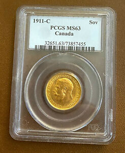 👌 Best Price! Canada 1911 C Ottawa Sovereign Gold PCGS MS 63, Old Slab!