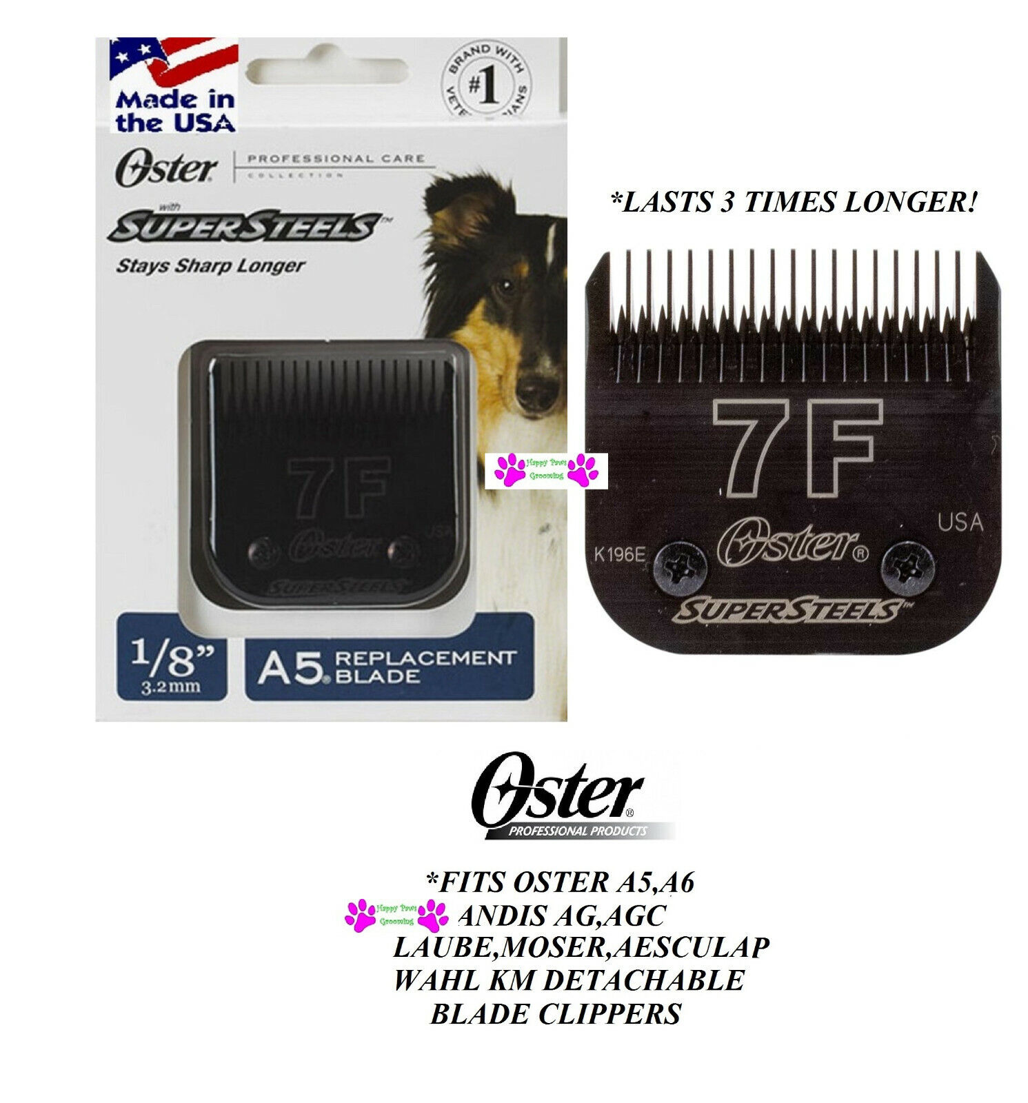 2-OSTER SUPERSTEELS 1 8  3.2mm BLADE 7FC 7F FIT A5,A6,Andis AGC,Wahl KM Clipper