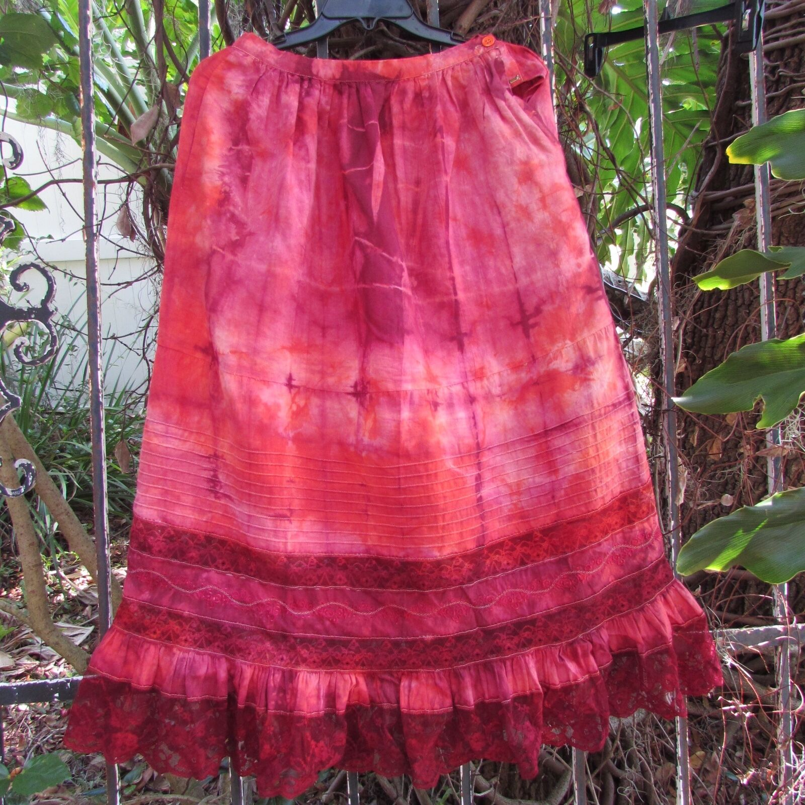 Vintage Women's Skirt Hand Dyed Gypsy Hippie Festival Romance Boho Cotton XS S