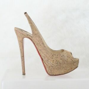 info for 66362 56984 Details about Christian Louboutin Lady Peep Sling Brown Cork Platform Pumps  EU 38.5 US 7.5
