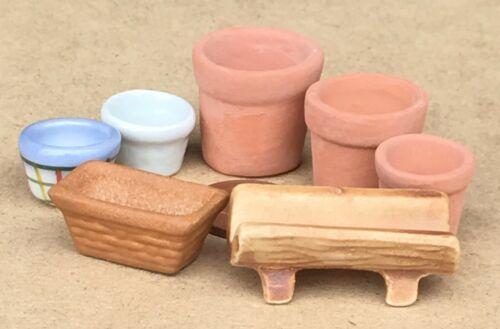 1:12 SCALA 7 assortiti pentole di Terracotta Fiore Pianta tumdee casa delle bambole 6 Taglie