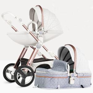 Baby Stroller 2 in 1 Pram For Newborn High View Pushchair Folding Carriage
