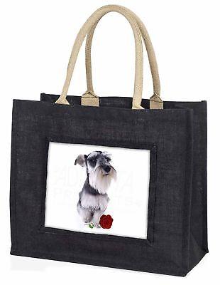 Schnauzer Hund mit roter Rose große schwarze Einkaufstasche WEIHNACHTEN Prese ,