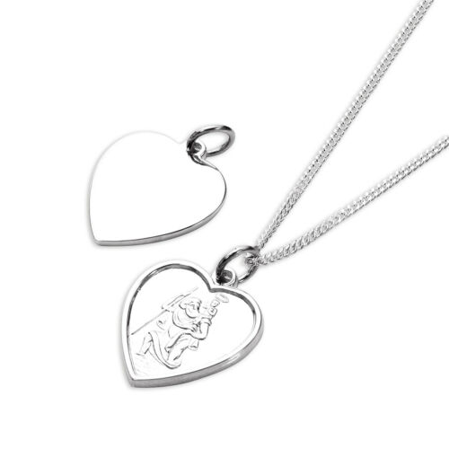 """925 Sterling Silver St Christopher Embossed Heart Pendant 14-32 /"""" Inches"""
