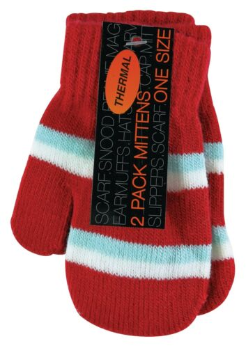 Girl Toddler 2 Pack Lot Winter Cute Striped Hand Mittens Gloves Baby Boy