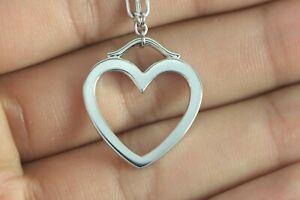 Tiffany-amp-Co-Elsa-Peretti-18K-White-Gold-Open-Heart-Pendant-18-039-039-Chain-Necklace