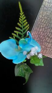 ONE-NEW-PALE-BLUE-ORCHID-FERN-BUTTONHOLE-PIN-WEDDING-PARTY-GUEST-PROM-GROOM