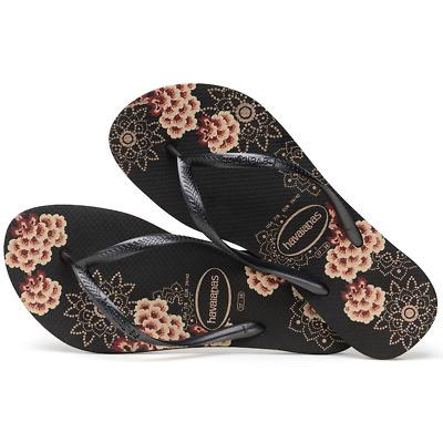 Havaianas Women`s Flip Flops Slim Organic Sandals Black Floral Sandal NWT