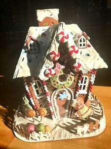 Sparkly-Gingerbread-House-Metal-Art-Christmas-Tealight-Holder-Colorful-Beauty-8-034