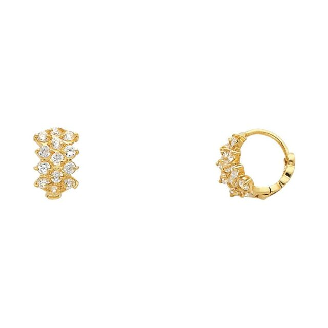 Fancy Huggie Hoop Earrings Solid 14k Yellow Gold Huggies Cz Three Row Small