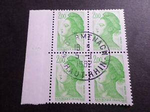 FRANCE BLOC timbres 2188 LIBERTE' DELACROIX, oblitéré 1982 cachet rond, QUARTINA