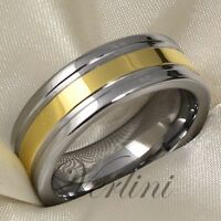 Tungsten Mens Ring Wedding Band 14k Gold Titanium Color Unique Jewelry Size 6-13
