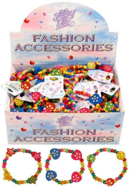 Children's Pretty Pink Girls Wooden Bead Bracelets Party Bag Birthday Hearts!