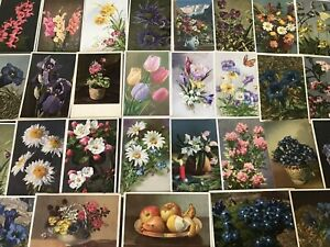 LOT-of-30-SWISS-FLORAL-flowers-POSTCARDS-BY-THOR-STEHLI-Mainzer-UNUSED-s674