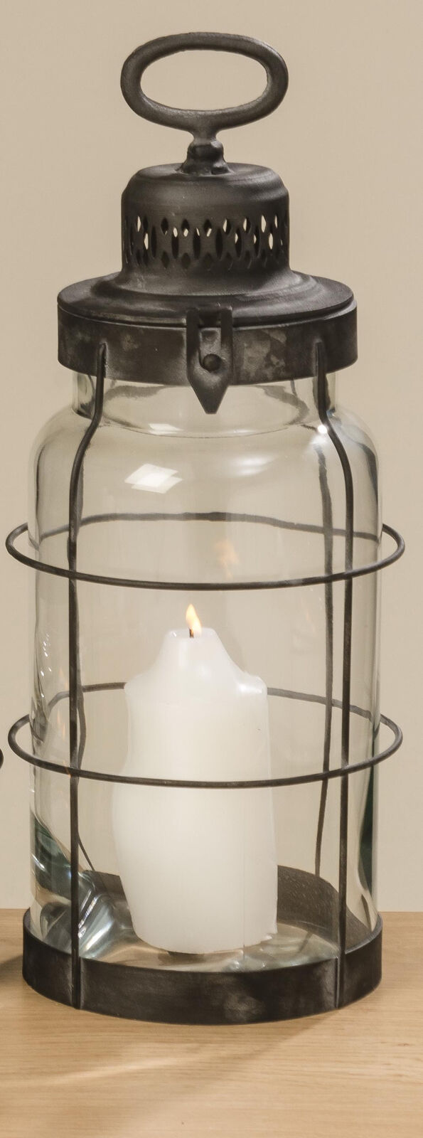 Linterna Odin Negro Metal Luz de Viento Farol Jardín 44cm Diseño Vintage Retro