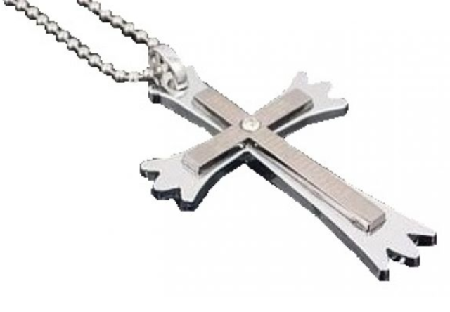 Men's Stainless Steel Black Crystal Prayer Cross Necklace N87