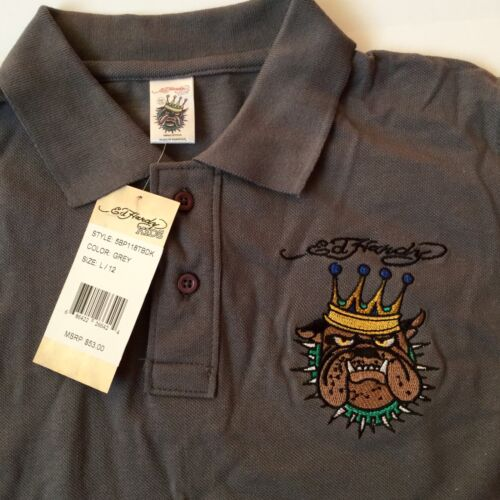 New Ed Hardy Boys Grey Polo Shirt Size L//12