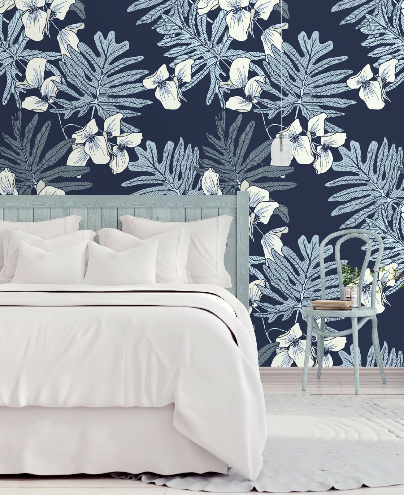3D bluee White Flower 93 Wallpaper Mural Paper Wall Print Indoor Murals CA Summer