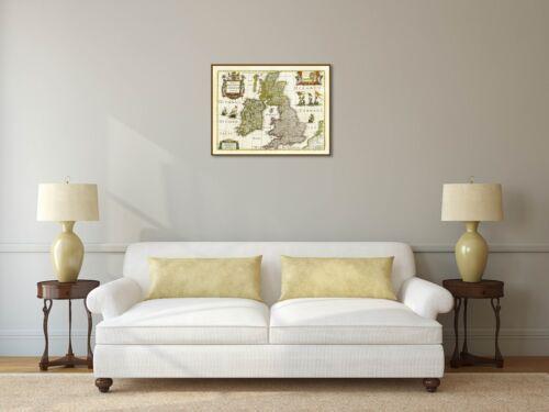 British Isles Great Britain UK antique map Janssonius Hondius 1638 art poster