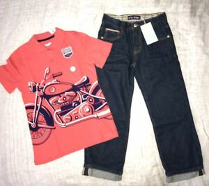 abb33f59d NWT Mini Boden Boys Sz 7 JEANS +Toughskins Orange Polo T-shirt with ...