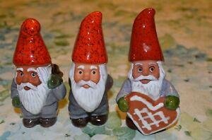 3-Vintage-Rolf-Berg-Pottery-Gnome-4-034-Figurines-Torshalla-Sweden