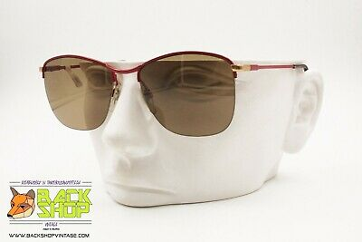 Luxottica Red Aviator Sunglasses Half Rimmed Wired, Golden End Pieces, Nos 60s Brividi E Dolori
