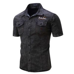 Mens-Fashion-Jean-Denim-Shirt-Short-Sleeve-Streetwear-Casual-Cotton-Tops-Shirts