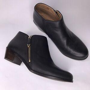 Vionic-Joy-Jolene-Women-039-s-Size-10-Black-Leather-Zip-Up-Booties