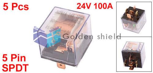5 Pcs JD2914 5 Pin SPDT Power Electromagnetic Relay w LED Light 24V 100A