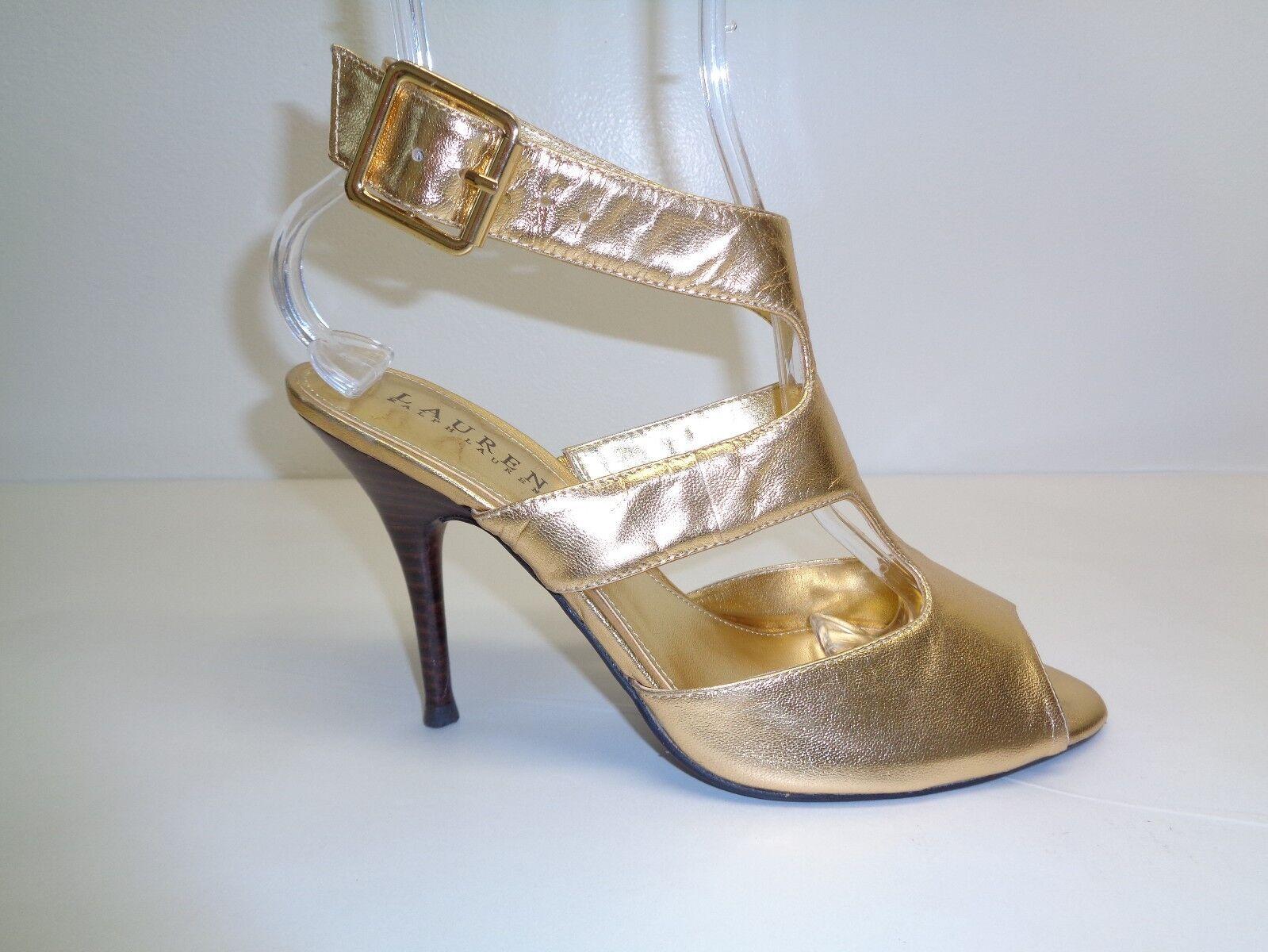 Ralph Lauren Size 8.5 M BAIRD Gold Leather T-Strap Sandals New Donna Shoes