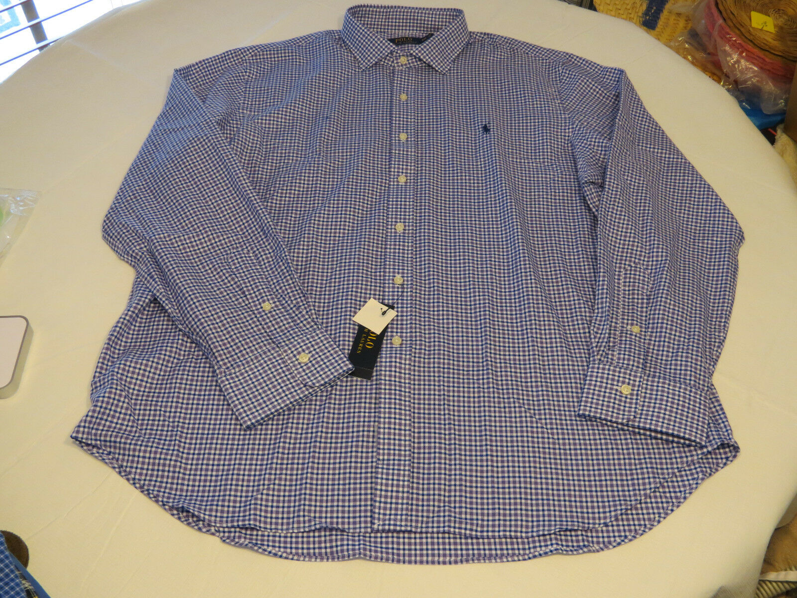 Men's Polo Ralph Lauren shirt button up lavendr bluee plaid Mclassics4 720001 XXL