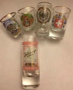 5-European-Souvenir-Shot-Glasses-Gold-Rim-Germany-Switzerland-Russia