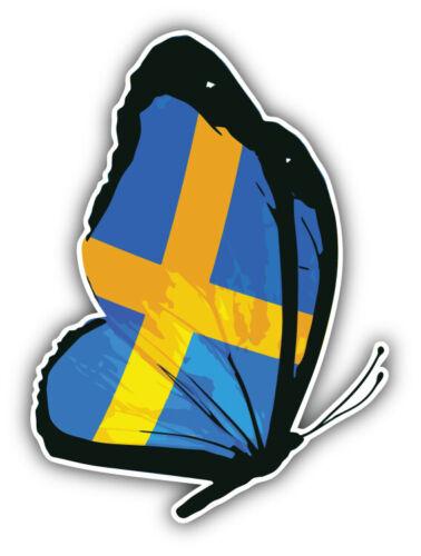 "Sweden Butterfly Flag Car Bumper Sticker Decal /'/'SIZES/"""