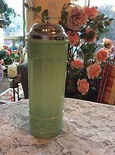 JADEITE GREEN GLASS NO TOUCH STRAW HOLDER DISPENSER Metal Lid ~ Column Design ~