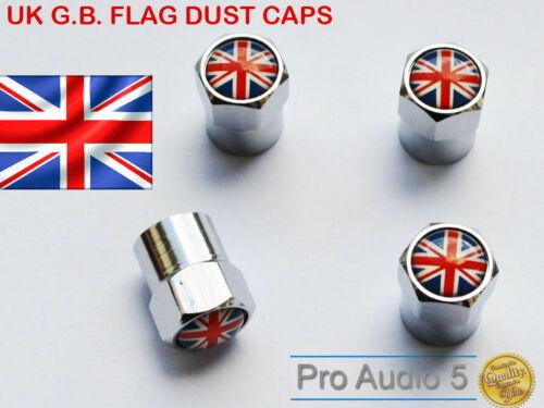 4 X Universal Aleación Metálica Válvula Del Neumático Polvo Tapas Union Jack Reino Unido Auto Moto Cromo