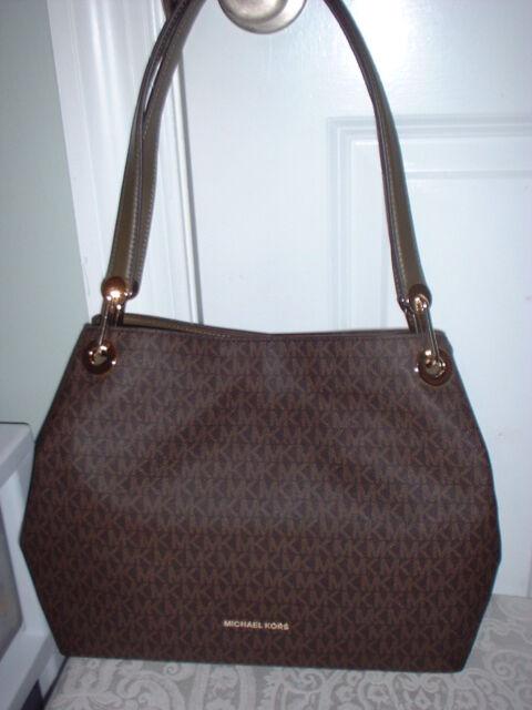 c109e262f78c NWT Michael Kors Raven Large Signature Shoulder Tote Handbag Brown