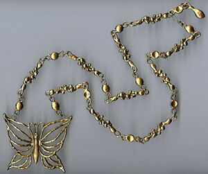 HUGE-WEIGHTY-DIMENSIONAL-VINTAGE-BRASS-BUTTERFLY-amp-ABSTRACT-CHAIN-NECKLACE