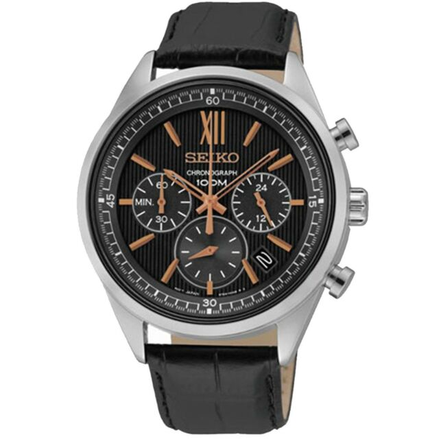 Seiko Chronograph SSB159 P1 Black Dial Black Leather Men's Quartz Analog Watch
